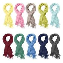 Bufanda Basico Moda Esencial Arruga Color Sólido De La Seda
