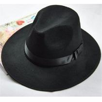 Sombrero Ala Ancha Vintage Hipster Funky Excelente Negro