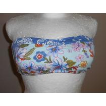 Op! Lindo Top De Bikini, Azul Strapless Con Flores, Talla L