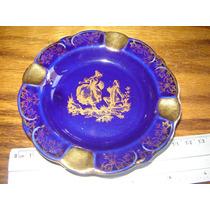 Cenicero Porcelana Limoges Francia Azul Con Oro Fragonard