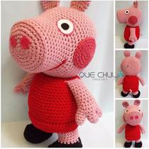 Muñeco Tejido Tipo Peppa Pig Amigurumi