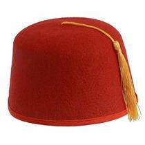 Canguro Rojo Fez Sombrero De Fieltro W / Borla Dorada