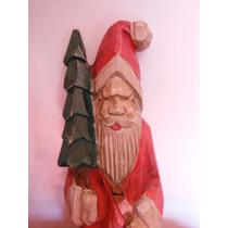 Escultura En Madera Labrada Santa Claus Navidad Christmas
