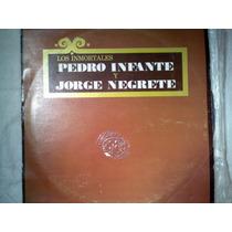 Disco Acetato De: Pedro Infante Y Jorge Negrete 3 Discos