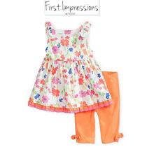 Conjunto 3/6 Meses Macys Naranja Flores Nina Blusa Leggings