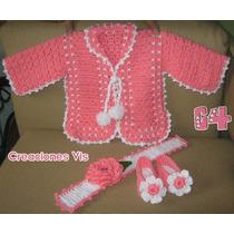 Divino Conjunto P/ Bebé Crochet Tejido Tiara Chambrita Tiara
