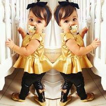 Conjunto Fashion Para Bebé Leggings Vinil Rock Dorado Peplum