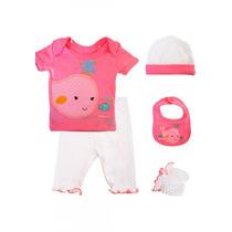 Conjunto 5 Piezas Bebé Niña Rosa Baby Creysi 0-3 Meses
