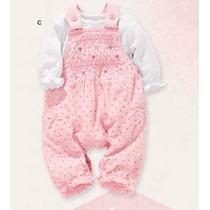 Conjunto Overol Rosa Y Pañalero Para Bebe Niña 100% Algodón