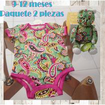 Pañalero Mameluco Algodon Bebe 9-12 M Paquete 2 Pzas Vera B