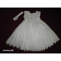 Nuevo Vestido Blanco Bautizo Ropon 9-12 Mese Organza Bordada