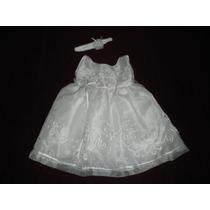 Nuevo Vestido Blanco Bautizo Organza Bordada 9-12 Meses