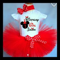 Divinos Tutus Minnie Mouse Rojo Con Negro, Incluye Orejitas!