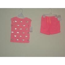 2 Sets De Shorts Con Camiseta Marca Carters Para Niña 2-t