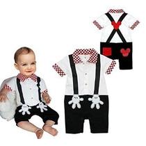 Stylesilove Bebé Mickey Mouse Faux Suspender Vestuario Rompe