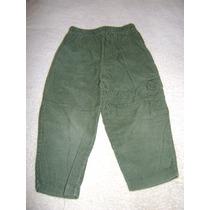 Pantalon Pana Verde Olivo Bebe Niño Con Bolsa 24 Meses