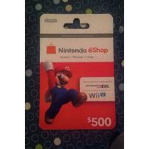 Tarjeta Gift Card Nintendo Eshop $500 Para Juegos Wii 3ds