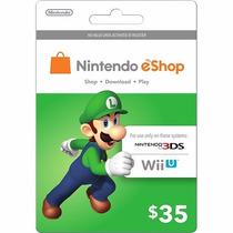 Tarjeta Gift Card Nintendo Eshop $35 Usd Para Juegos Wii 3ds