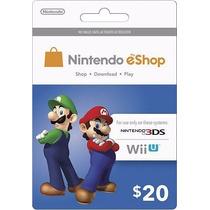 Tarjeta Gift Card Nintendo Eshop $20 Usd Para Juegos Wii 3ds