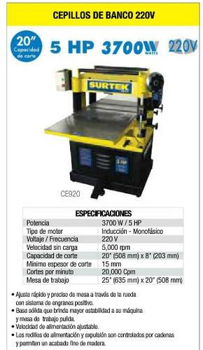 Oferta Cepillo De Banco 220 V 5 Hp Surtek Nuevo, Garantizado