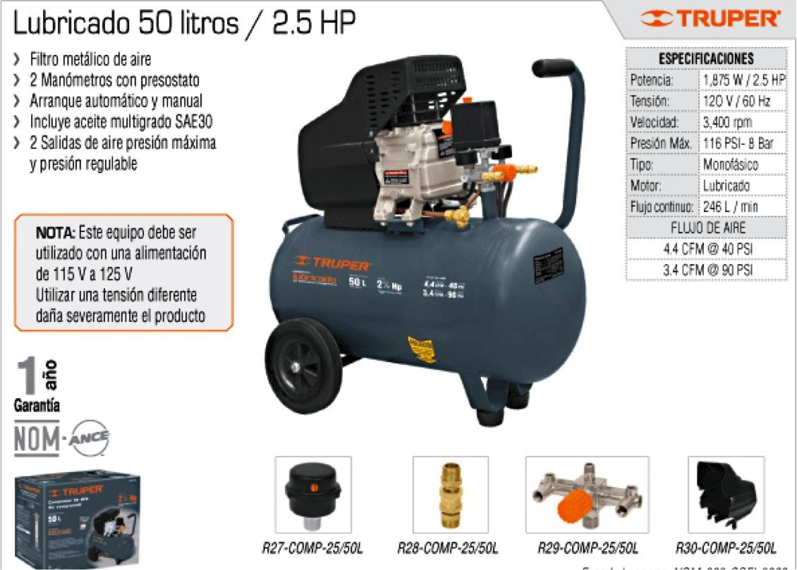 Oferta compresor lubricado 50lts mca truper - Compresor de aire 25 litros ...