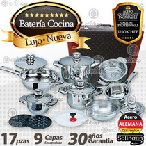 Bateria Acero Quirúrgico Alemana 9 Capas 17 Pz Maletin Chef
