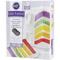Wilton 2105-0112 Capas Fácil! 5 Piezas Cake Pan Set, 6 Pulga