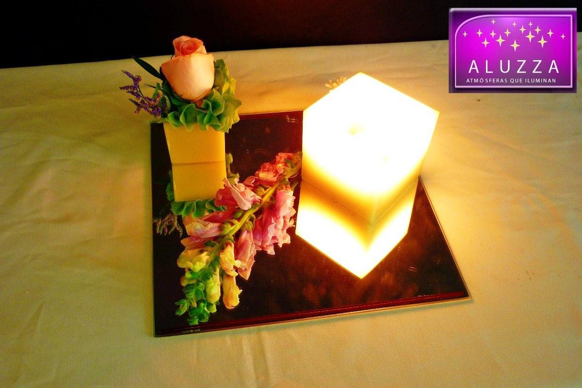 Original centro de mesa para boda aluzza base de madera for Centros de mesa de madera