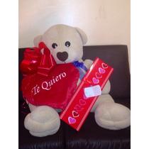 Oso Gigante 1.20cms Con Chocolates Corazon Y Envoltura $1650