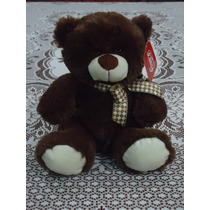 Tierno Oso De Peluche Chico C/moño Color Chocolate 30 Cm.