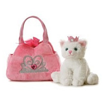 Gato Con Bolsa Juguetes Peluche Aurora Importado