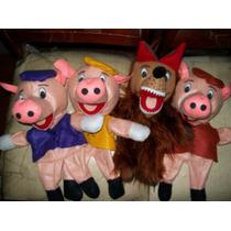 Gcg Coleccion De 4 Titeres Los Tres Cochinitos Y El Lobo Bbf