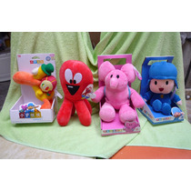 4 Peluches Pocoyo Pulpo Fred Elly Elefante Rosa Pato Tambor