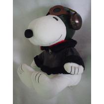 Snoopy Aviador De 40 Cms Con Sus Lentes Y Chamarra Negra