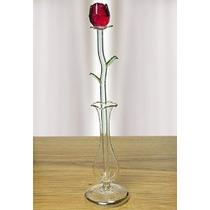 Rose Roja En Florero De Cristal - Crystal Rose Que Durará Pa