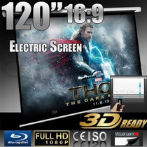 Pantalla Electrica Proyeccion Proyector 120pl Hd 3d 16:9