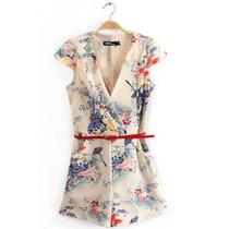 Suku 60517 Short Mono Estampado Flores Moda Japón $629