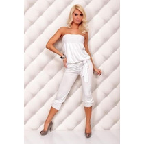 Jumpsuit Mujer Palazzo Blanco Romper Strapless Pescador Sexy