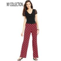 Pantalon Grande 36 Ny Colec Ancho Palazzo Stretch Negro Rojo