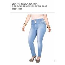Jeans Mezclilla Pretina Ancha Corte Tubo Tallas Extra 866