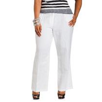 Hermoso Pantalon Casual De Lino Blanco, Talla 34 / 36