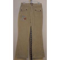 Pantalon De Pana Bordado Camel Ruta 66 Para Dama Talla 0-26