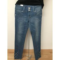 Jeans Con Botones De Pedrería Talla 7