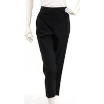 Pantalón De Vestir Negro, Lana, Hebillas Plateadas A Los La