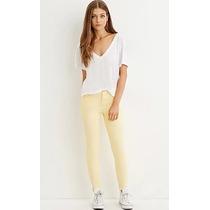 Forever 21 Jeans Skinny Entubados Amarillo Claro Stretch M