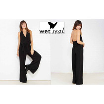 Envio Jumpsuit M Negro Palazzo Wet Seal Pantalon Ancho Bello