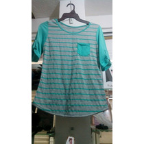 Bonita Blusa Casual En Color Gris Con Verde Turqueza