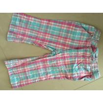 Pantalón Niña Talla 4 Con Ajuste Cintura Cuadros