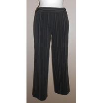 George! Pantalón Negro Tipo Capri, A Rayas, Talla 4, Strech