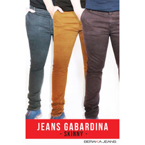 Jeans Caballero Corte Skinny Gabardina Colores - Envíogratis